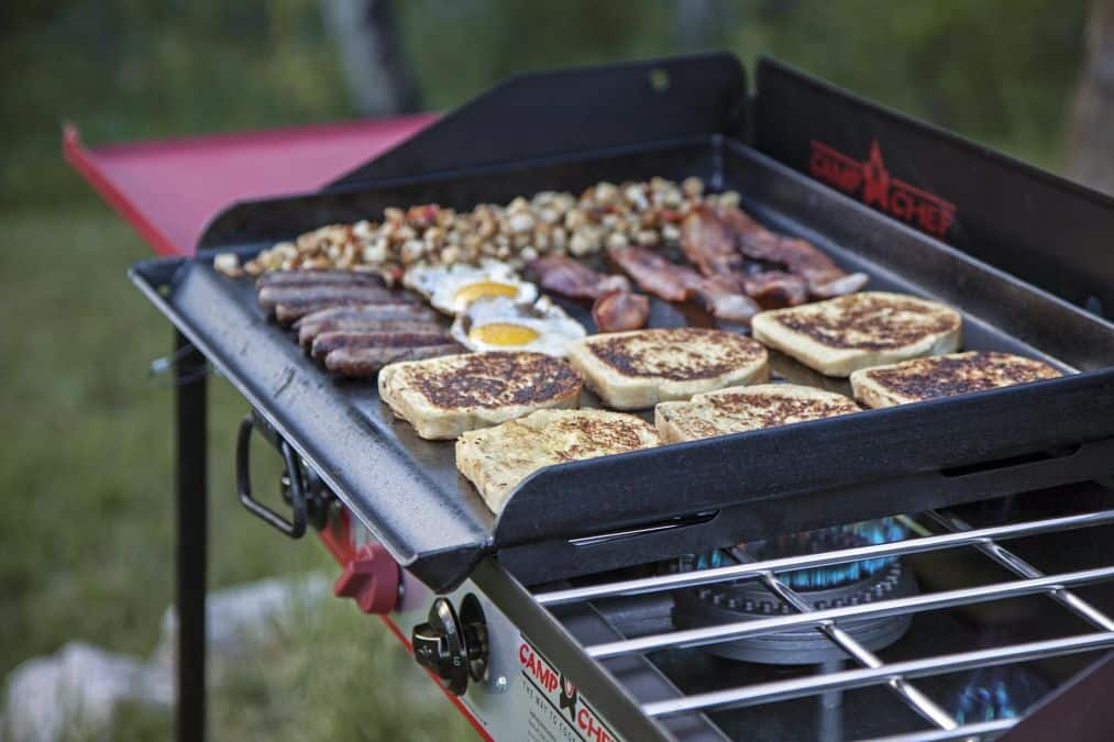 flat top grill with breakfast cooking