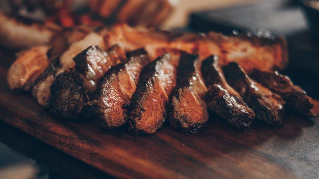 steak over lump charcoal